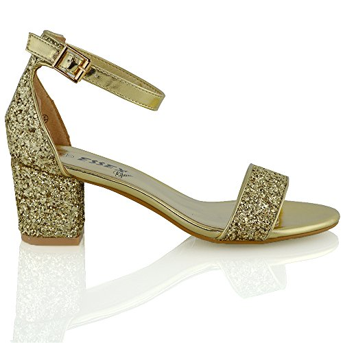 Cinturini Oro 8 Heel Low 3 Cinturino Caviglia Toe Alla Glitter Womens Ladies Mid Peep Essex Glam Block Con TOxZg