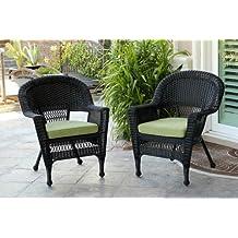 Jeco W00207-C_2-FS029-CS Wicker Chair with Green Cushion, Set of 2, Black/W00207-C_2-FS029-CS