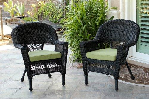 Black Patio Chairs - Jeco W00207-C_2-FS029-CS Wicker Chair with Green Cushion, Set of 2, Black/W00207-C_2-FS029-CS