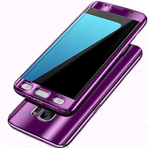Case Mirror Screen Protector - Samsung Galaxy S7 Edge Case,Diaxbest 360 Plating Mirror Phone Case Full Body Coverage Electroplating Protective Cover With Screen Protector For Samsung Galaxy S7 Edge (Plating Purple)