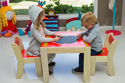labebe kids wooden table and two chairs red appl - Toddler Wooden Table And Chairs