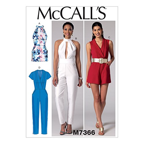(McCall's Patterns M7366 Misses' Pleated Surplice or Plunging-Neckline Rompers, Jumpsuits and Belt, Size A5)