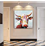 Colorful Cow Paintings Canvas Wall Art Animal