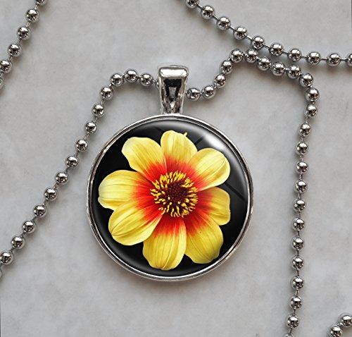 Dahlia Moonfire Flower Pendant Necklace
