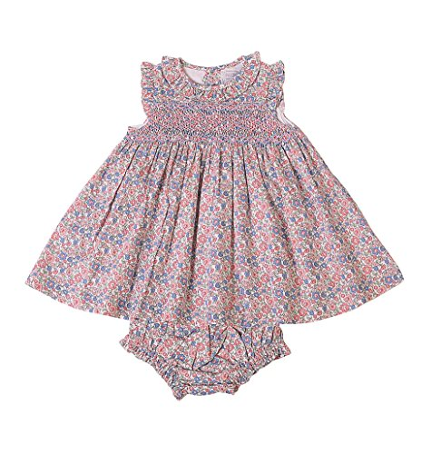 Phlona Little Girls' Rose and Blue Floral Smocked ()