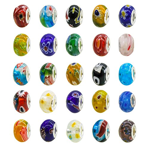 TOAOB 50pcs Assorted Glass European Lampwork Beads Large Holes Spacer Beads Charms Supplies with Brass Silver Core for Bracelet Necklace Jewelry Making