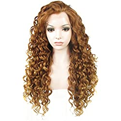 Ebingoo Long Curly Brown Lace Front Wig Synthetic Hair Wigs for Women N18 30+27HR