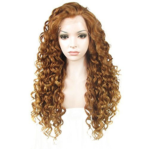 Ebingoo Long Curly Brown Lace Front Wig with Natural Widows Peak Heat Resistant Synthetic Hair Wigs for Women