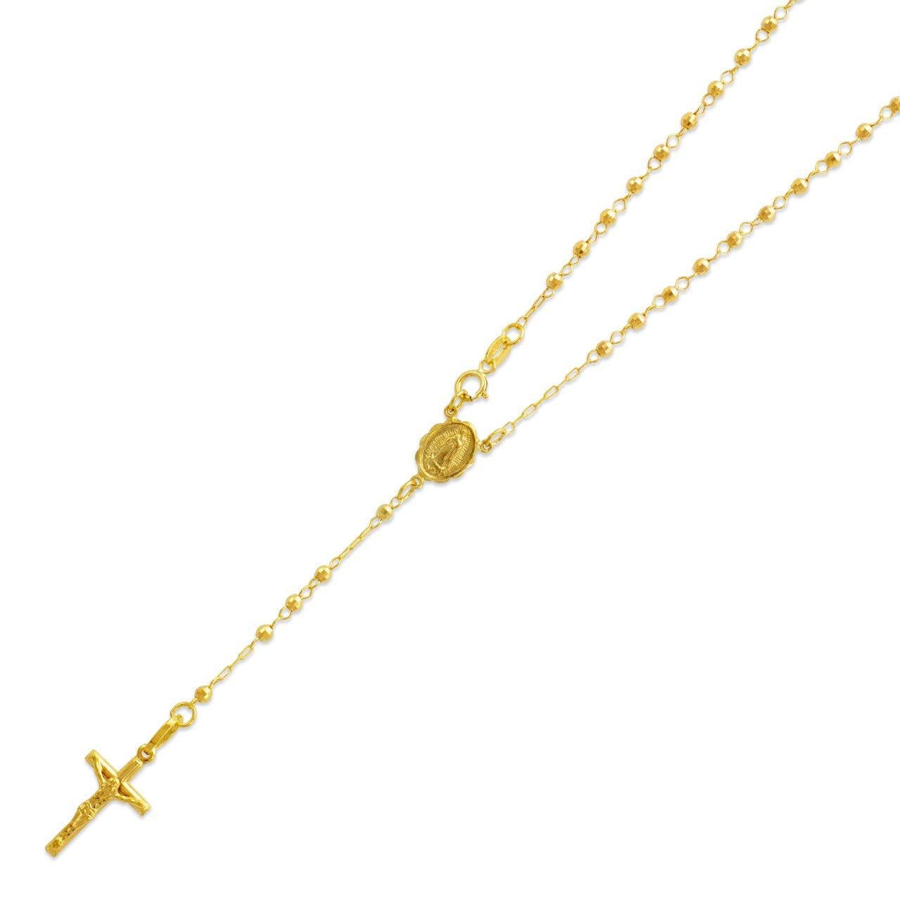 14K Yellow Gold Chain Cross Necklace DC Bead Rosary Necklace (16, 18, 20, 24, 26''), 20'' by Double Accent