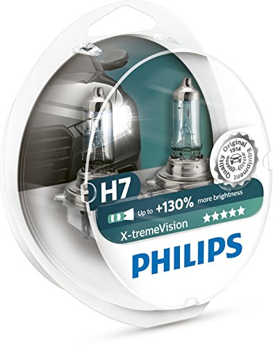 Philips X-treme Vision +130% Headlight Bulbs (Pack of 2) (H7 55W) (Headlight Plus White Bulbs)