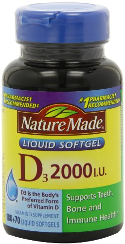 Nature Made, vitamine D3 2000 IU Gélules liquides, 250-comte