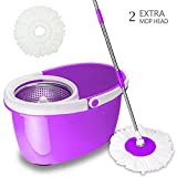 Valuebox 360° Spin Bucket System Mop with Extended Length Handle Stainless Steel Basket 2 Microfiber Mop Heads,Purple Blue Green (Purple)