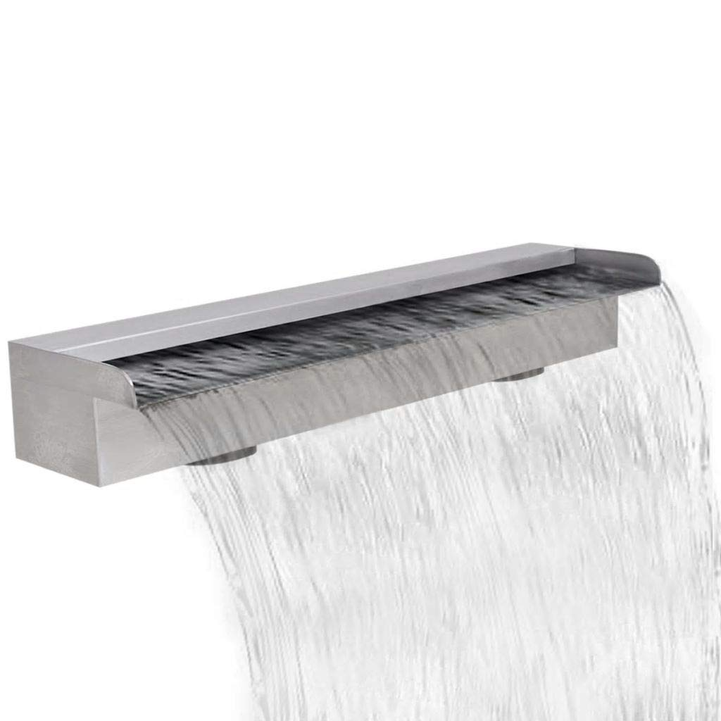 JBDSupply Rectangular Waterfall Pool Fountain Stainless Steel 23.6inch (41667)
