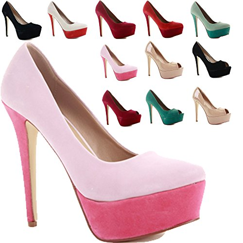 WOMENS LADIES STILETTO HIGH HEEL PLATFORM COURT POINTED PROM PUMPS SHOES SIZE Style A - Pink Rose Faux Suede Jjgul