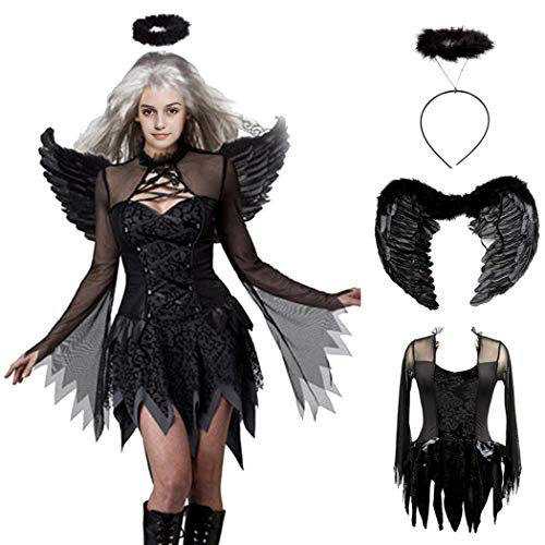 Devil Black Fallen Angel Dress Sexy Halloween Costumes for Women Cosplay Party Exotic Accessory Kit Fancy Dress Suits with Angel Wings and Halo Headpiece