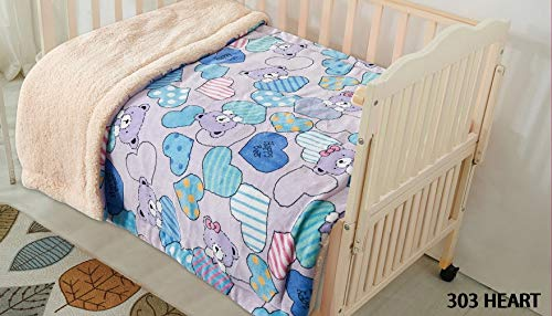 (Elegant Home Kids Soft & Warm Cute Bears and Hearts Design Sherpa Baby Toddler Girl Blanket Printed Borrego Stroller or Baby Crib or Toddler Bed Blanket Plush Throw 40X50 (Heart))