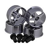 BQLZR Titanium Color Fully Cowled Aluminum Alloy Medium-Bore Pentagram Wheel Rim for Tamiya RC 1:32 Mini 4WD Model Car Pack of 4