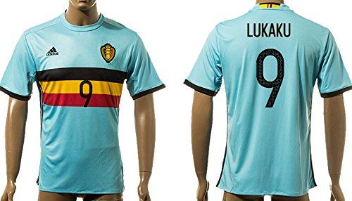 71e9166f8 Uefa Euro 2016 Belgium 9 Lukaku Jordan Soccer Shirt European Championship  Jersey Mens Short Sleeve Away Size XL  Amazon.co.uk  Clothing