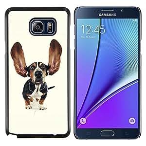 Caucho caso de Shell duro de la cubierta de accesorios de protecci¨®n BY RAYDREAMMM - Samsung Galaxy Note 5 5th N9200 - Grande divertido del perro de caza del o¨ªdo