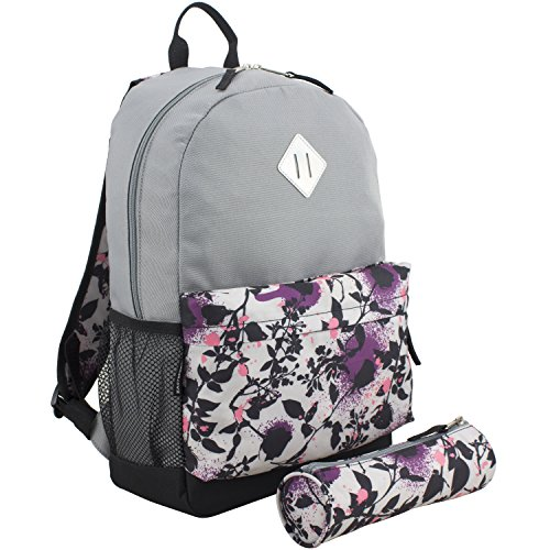 Eastsport Dome Backpack with FREE Pencil Case, Ash Gray/Painted Roses - Dome Backpack