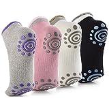 BalanceFrom GoYoga - Calcetines Antideslizantes para Yoga, Pilates, algodón con agarres para Mujer, Talla única, Paquete de 4