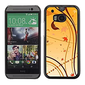 Be Good Phone Accessory // Dura Cáscara cubierta Protectora Caso Carcasa Funda de Protección para HTC One M8 // Wallpaper Nature Leaves Autumn Yellow
