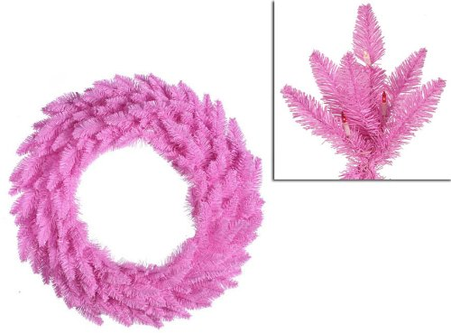 (Vickerman Pre-Lit Ashley Spruce Christmas Wreath with Clear and Pink Lights, 36