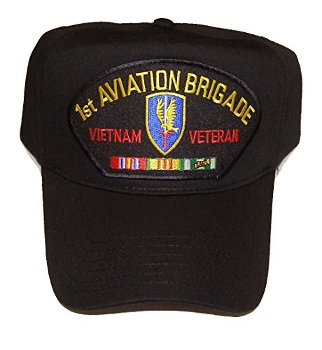 1ST AVIATION BRIGADE VIETNAM VETERAN HAT with ribbons and 1ST Aviation crest cap - BLACK - Veteran Owned - Cap Holloway