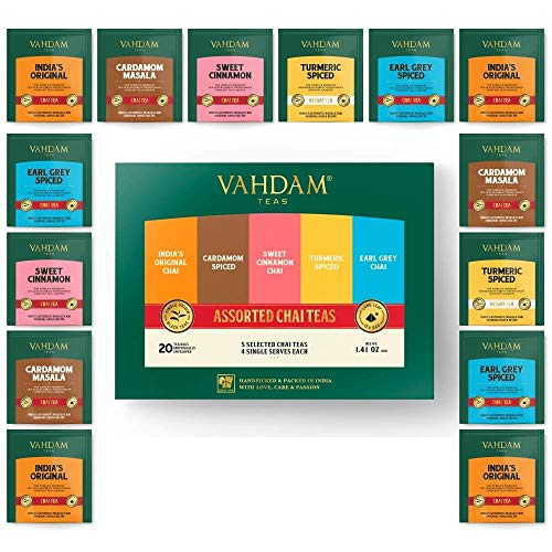VAHDAM, Chai Tea Sampler, 5 TEAS - Tea Variety Pack | Assorted Chai Tea Bags | Cardamom Tea Bags, Cinnamon Tea Bags, Turmeric Masala Chai Tea Bags | 20 Ct | Tea Gift Set
