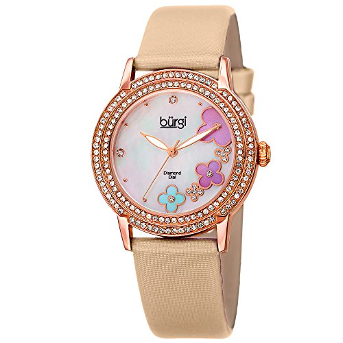 Burgi Women's BUR142NU Rose Gold Quartz Watch With Swarovski Crystal and Diamond Mother of Pearl Dial With Beige Leather (Swarovski Mop Dial)
