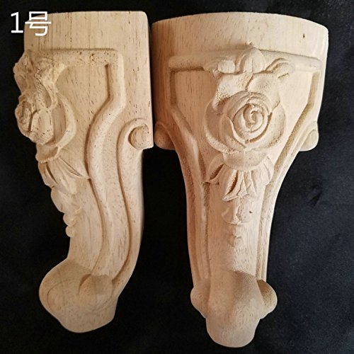 WellieSTR Set of 4pcs Decorative Furniture Leg Decor Carved Wooden Bed Applique Woodcarving Cabinet Foot Unpainted Miniatures Decal Wood Furniture