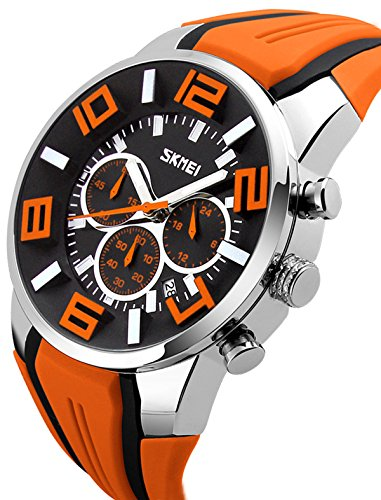- Mens Unique Big Face Watch Outdoor Sports Chronograph Fashion Casual Colorful Analog Quartz Watches Orange