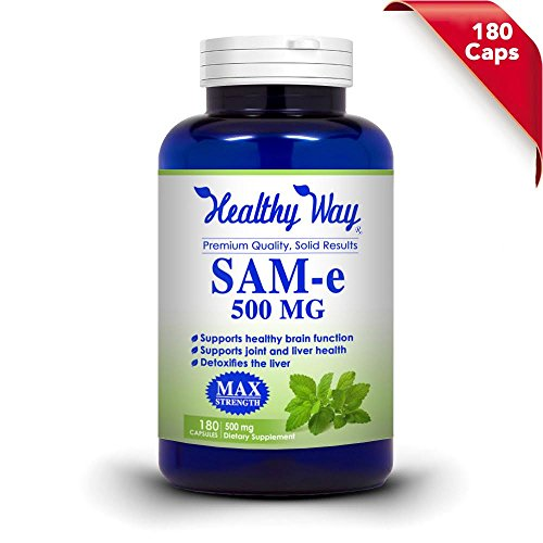 Pure SAM-e 500mg Supplement – 180 Capsules, (S-Adenosyl Methionine) Joint Healthy, and Brain Function, Max Strength