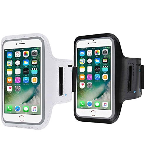 (2 Pack Cell Phone Armband Compatible with iPhone X Xs,8 7 6 6S 8, 7,6S,SE,5S,5C,5,4S,4,GalaxyS9,S8,S7,S6,Water Resistant Breathable Phone for Running, Biking-Black+Silver )