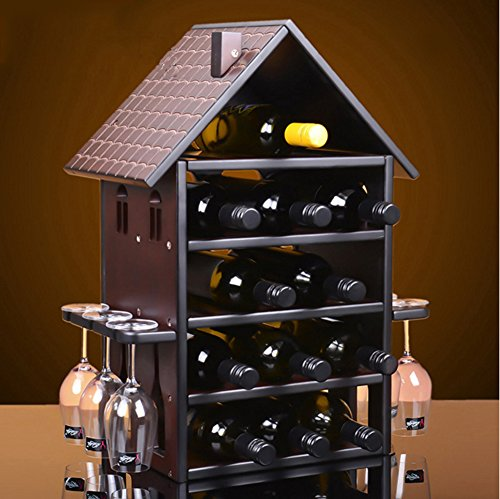 TY&WJ Solid wood Wine bottle holder Creative [redwood] European style Wine shelf [household] [restaurant] Bar pub Wine display Senior Wine cabinet-B by TY&WJ
