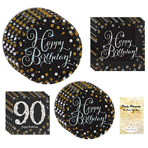 90th Birthday Party Supply Pack, Black and Gold Sparkling Celebration Design, 16 Guests, Bundle of 4 Items: Dinner Plates, Dessert Plates, Lunch Napkins and Beverage Napkins -