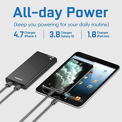 Alongza 20000mah Portable Charger, High Capacity Power Bank for Cell Phone 2 USB Ports External Battery Back Mobile Backup Charger Compatible with iPhone,Samsung, Android and More Smart Devices 51NtiBRMRDL