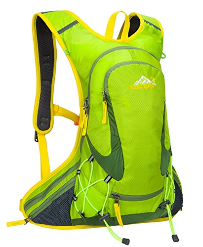 iLoveSIA 18L Nylon Cycling Backpack Bike Riding Rucksack Outlet Design with Helmet Storage-Green