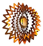 WorldaWhirl Whirligig 3D Wind Spinner Hand Painted Stainless Steel Twister Star (12'' Inch, Copper)