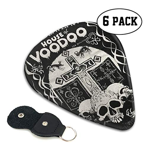Novelty Top Halloween House of Voodoo Skull Ultra Light 0.46 Medium 0.71 Heavy 0.96mm Printed Round Flat Celluloid Jazz Electric Acoustic Bass Guitar Pick Ccessories Variety Pack Pocket ()
