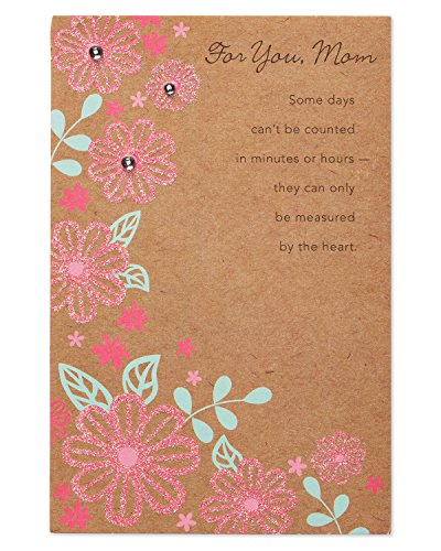 Pink Floral Birthday Card for Mom with Glitter