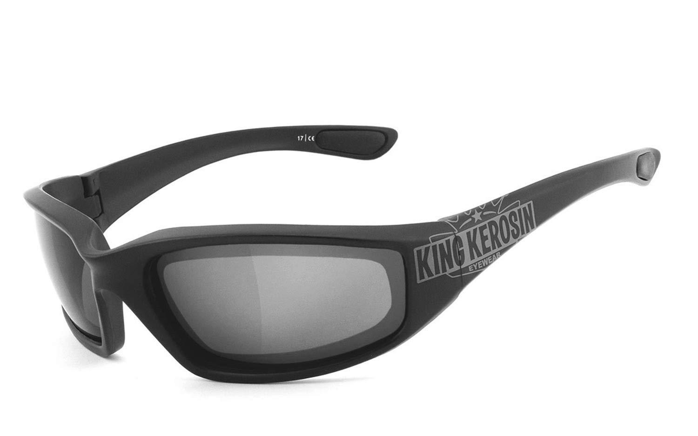 Sportbrille Motorradbrille Bikerbrille Brille: KK140-1 HLT/® Kunststoff-Sicherheitsglas nach DIN EN 166 UV400 Schutzfilter Brillengestell: schwarz matt King Kerosin/®