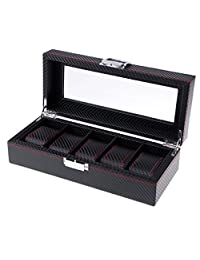 D DOLITY 5 Slots Carbon Fiber Woven Pattern High-Capacity Watch/Jewelry Storage Box