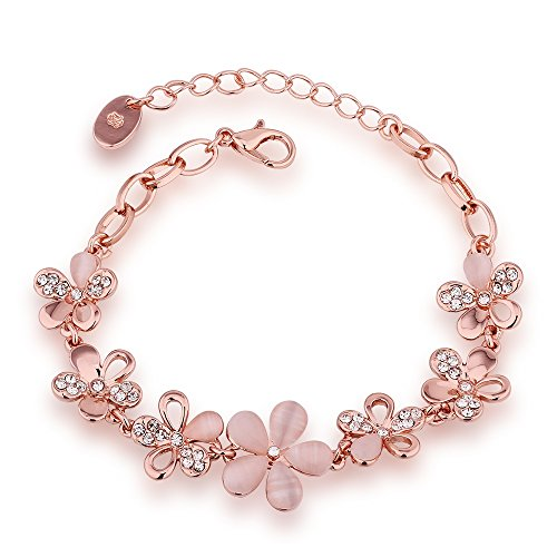 [SDLM Sweet Pink Opal Flowers Rose Gold Plated Clear Cubic Zirconia CZ Bracelets, 7.2