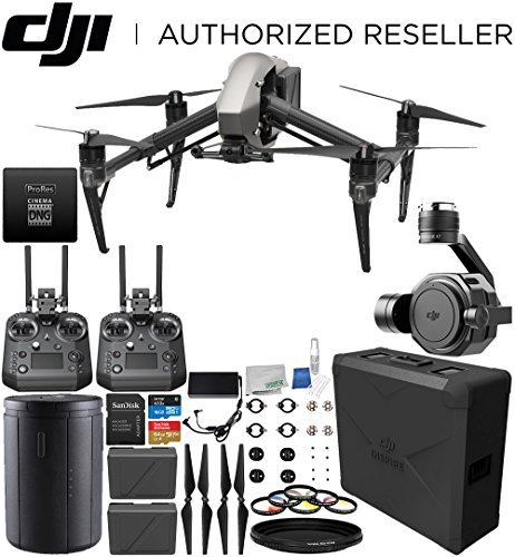 DJI Inspire 2 RAW Quadcopter (CinemaDNG and Apple ProRes Licenses Included) with Zenmuse X7 Camera and 3-Axis Gimbal & Extra Cendence Remote Controller Bundle
