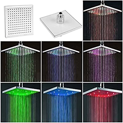 "Best Cheap Deal for Top 8"" inch Square Rain Bathroom 7 Colors LED Light Shower Head by Home & Graden - Free 2 Day Shipping Available"