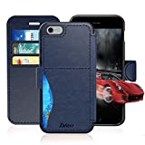 #7: iPhone 6/6S Plus Leather Wallet Case with Cards Slot and Metal Magnetic, Slim Fit and Heavy Duty, TAKEN Plastic Flip Case / Cover with Rubber Edge, for Women, Men, Boys, Girls, 5.5 Inch (Blue)