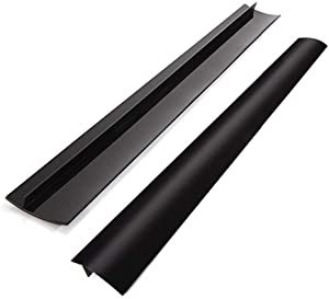 "AINAAN Clearance Silicone Kitchen Stove Counter Cover Long & Wide Gap Filler (2 Pack) Heat-Resistant and Easy Clean (Black), 21"" x .5"" x 2.25"""