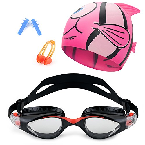 Meesport Kids Swim Goggle Set with Anti Fog UV Protection Swimming Goggles Swim Cap and Ear Plugs Nose Clip Swimming Equipment Toys Games Triathlon Equipment for Youth Kids Boys Girls Black