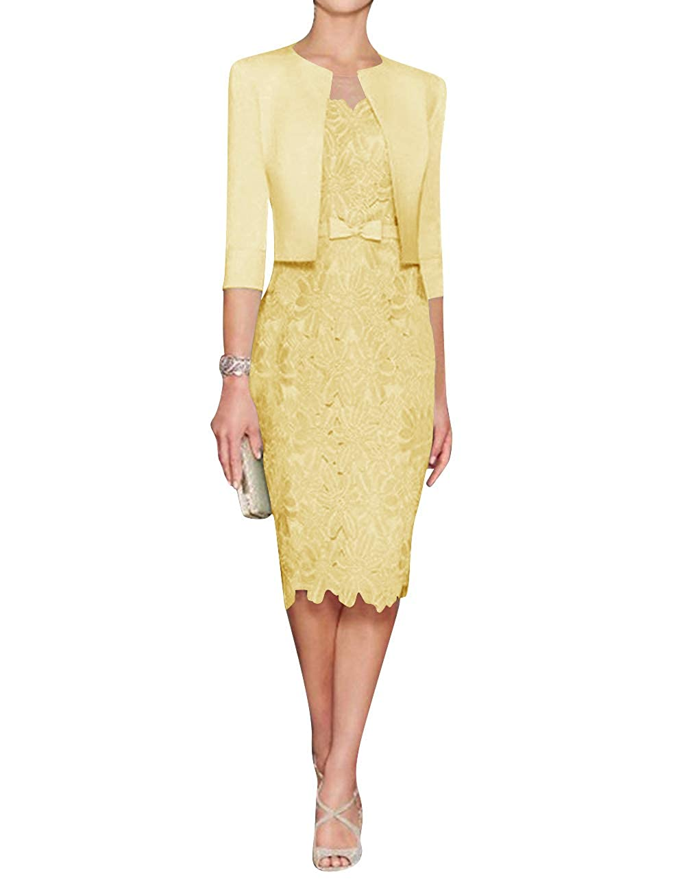 Yellow H.S.D Mother of The Bride Dress Sheath Mother Dress Lace Formal Dresses Satin Jacket